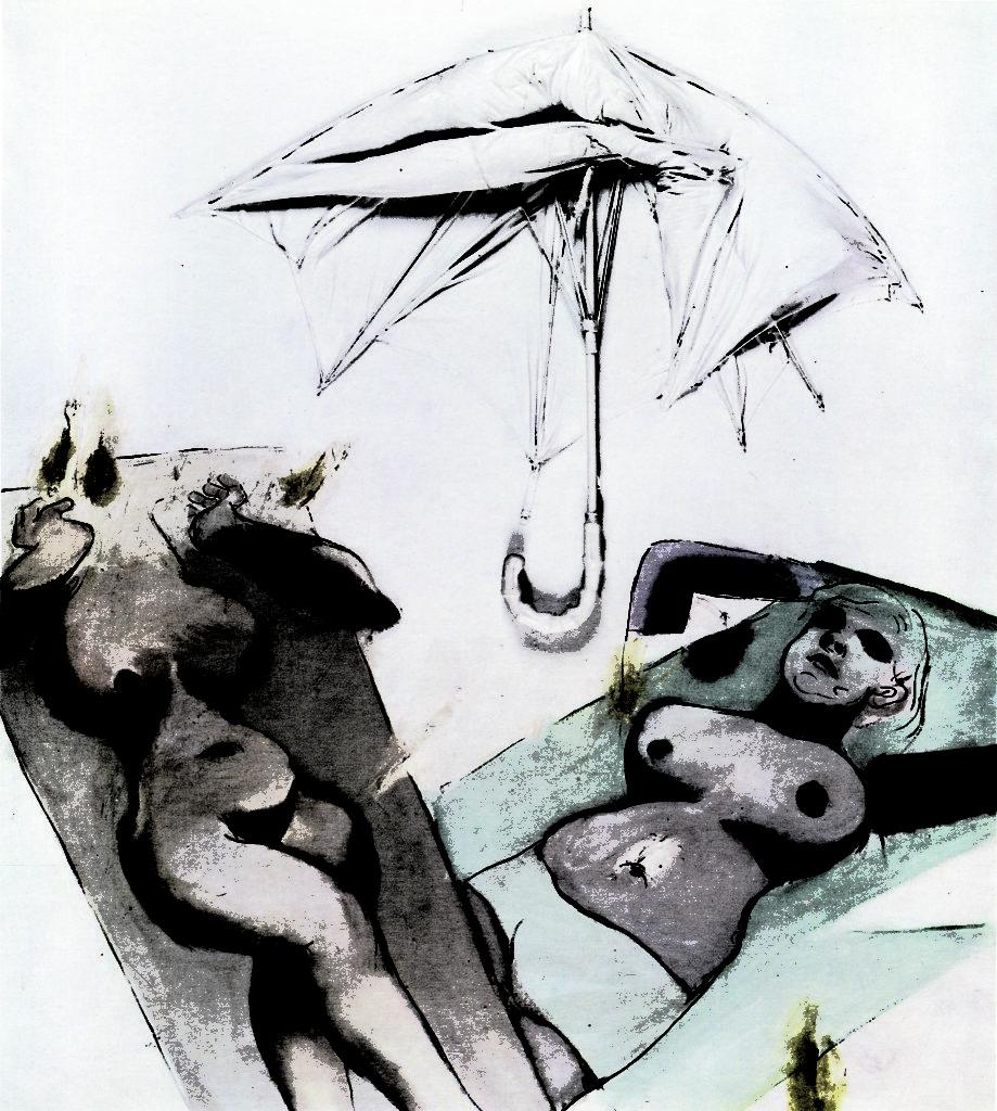 Emballage, Objects, Figures No. 4, 1968, oil, umbrella, canvas, Muzeum Sztuki in Łódź