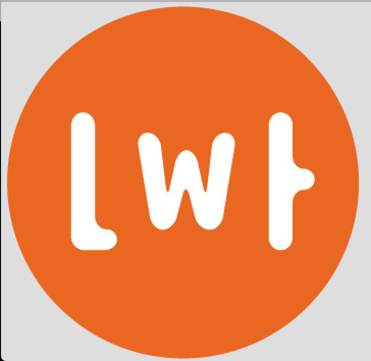 Banner z logo programu Lato w teatrze: w pomarańczowym kole białe litery LWT