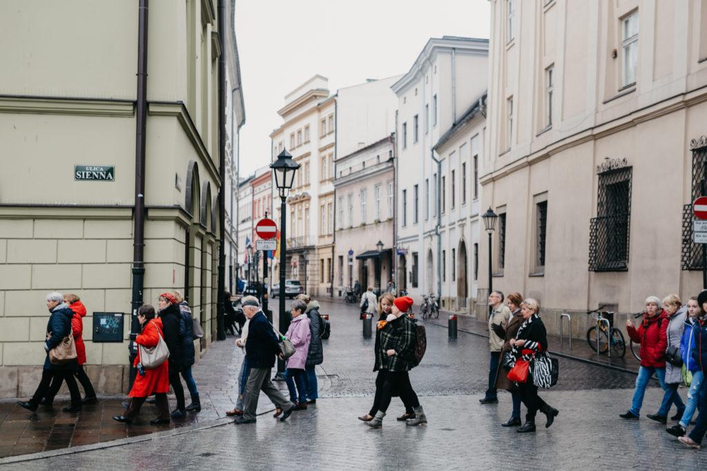 Na zdjęciu grupa seniorów w przestrzeni miasta.