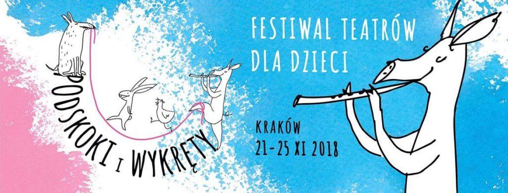 Grafika promująca festiwal Podskoki i wykręty.
