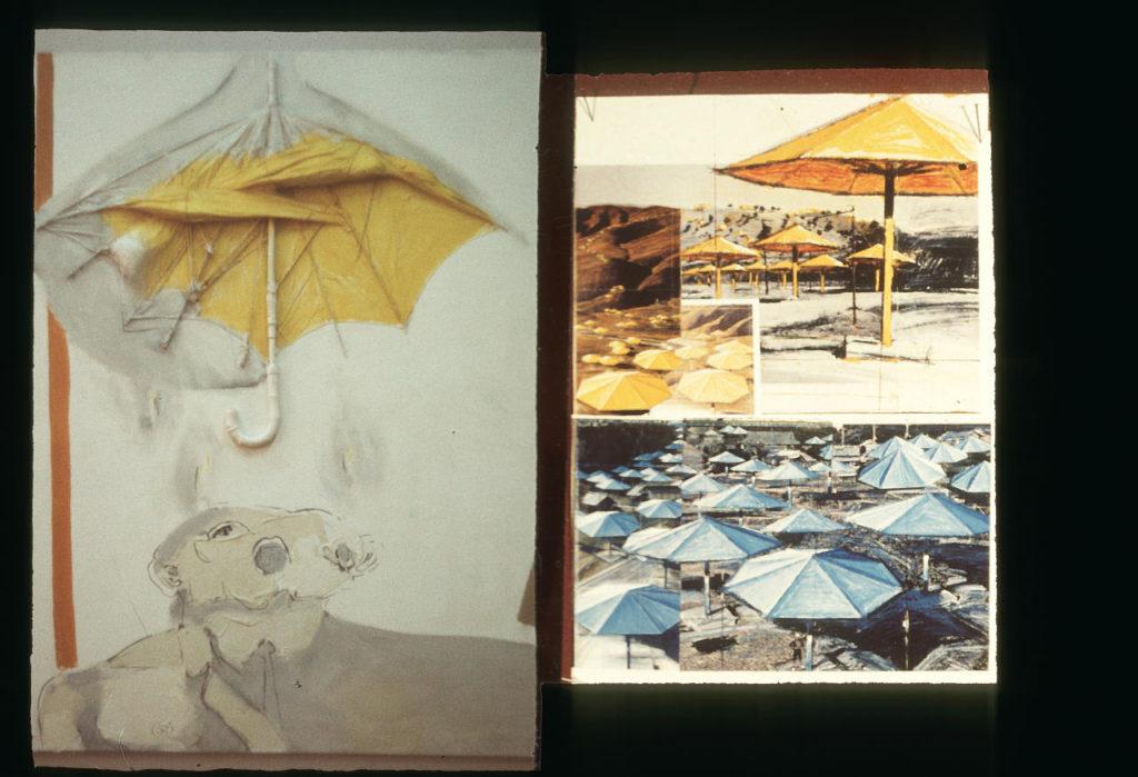 Na fotografii, która pierwotnie pełniła rolę slajdu zobaczyć można asamblaż Tadeusza Kantora z parasolem i postacią oraz fotografie przedstawiające prace Christo i Jean Claude z pogranicza land artu, z Japonii i Kalifornii.