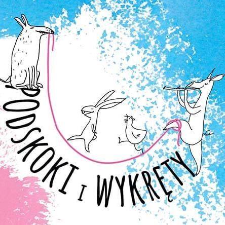 Grafika promująca festiwal podskoki i wykręty: napis, po literkach chodzą zwierzątka