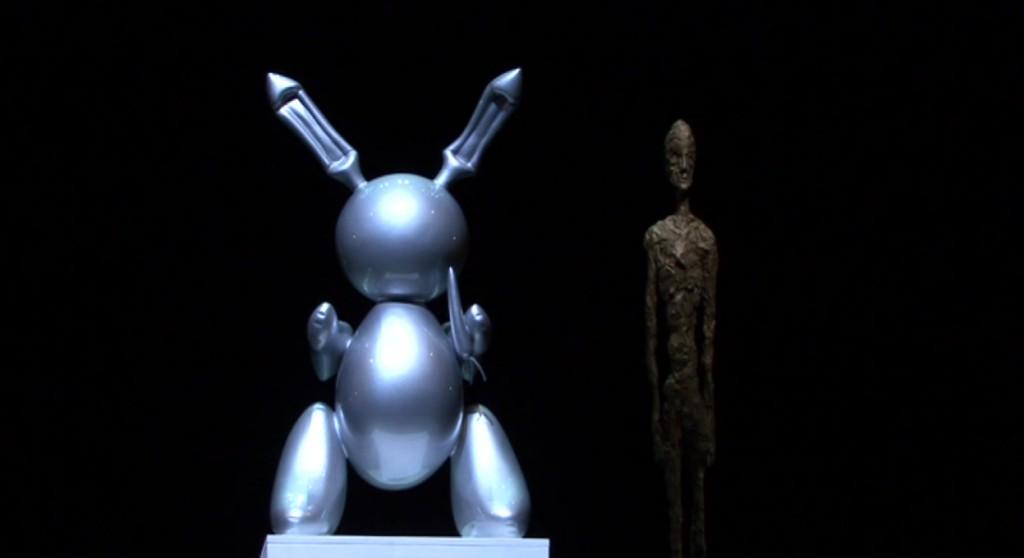 Metalowa, rzeźba królika - robota