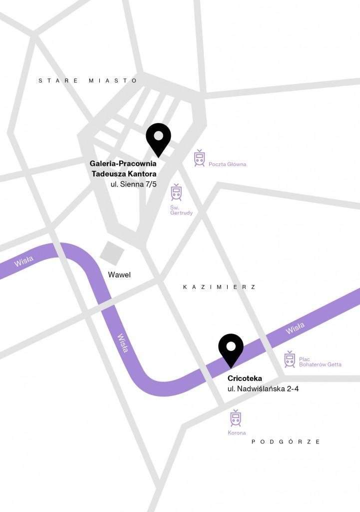 Grafika komputerowa: na schematycznej mapie Krakowa zaznaczone są dwie siedziby Cricoteki: główna przy ul. Nadwiślańskiej 2-4 oraz Galeria-Pracownia przy ul. Siennej 7/5.