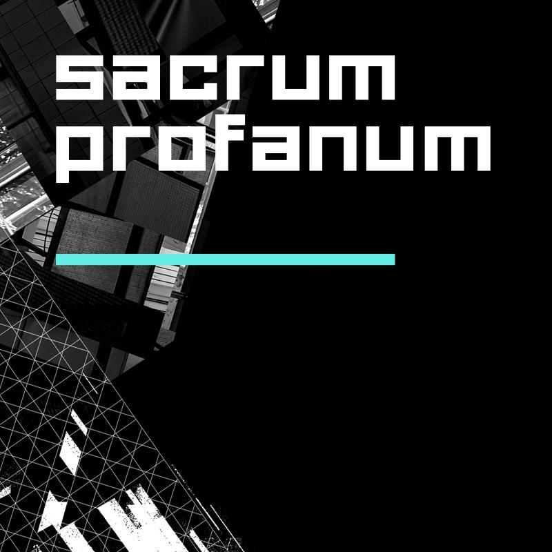Biały napis Scarum Profanum. W tle czarno-biała, abstrakcyjna, geometryczna forma