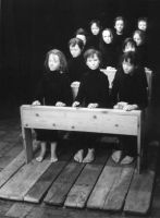 "Children at their desk from ""The Dead Class"" 1989, owned by Cricoteka"