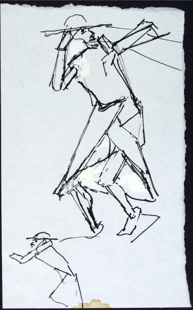 Szkic projektu pomnika Wiecznego Wędrowca.