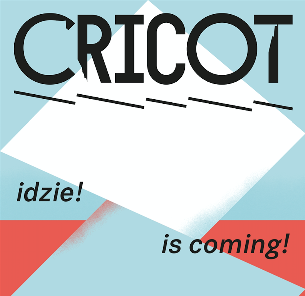 Niebiesko-biało-czerwona grafika z napisem Cricot idzie!