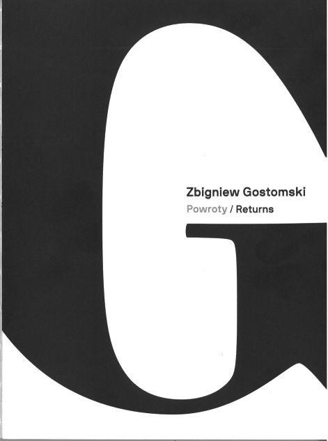 Biała okładka z literą G i napisem powroty/returns