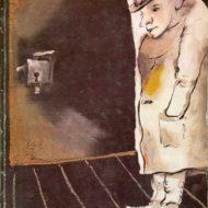 Rysunek postaci w hełmie stojącej przy drzwiach