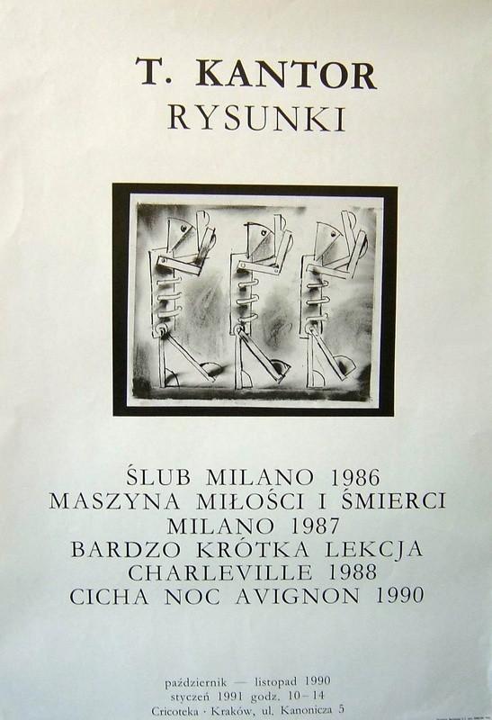 Plakat wystawy z rysunkiem autorstwa Kantora