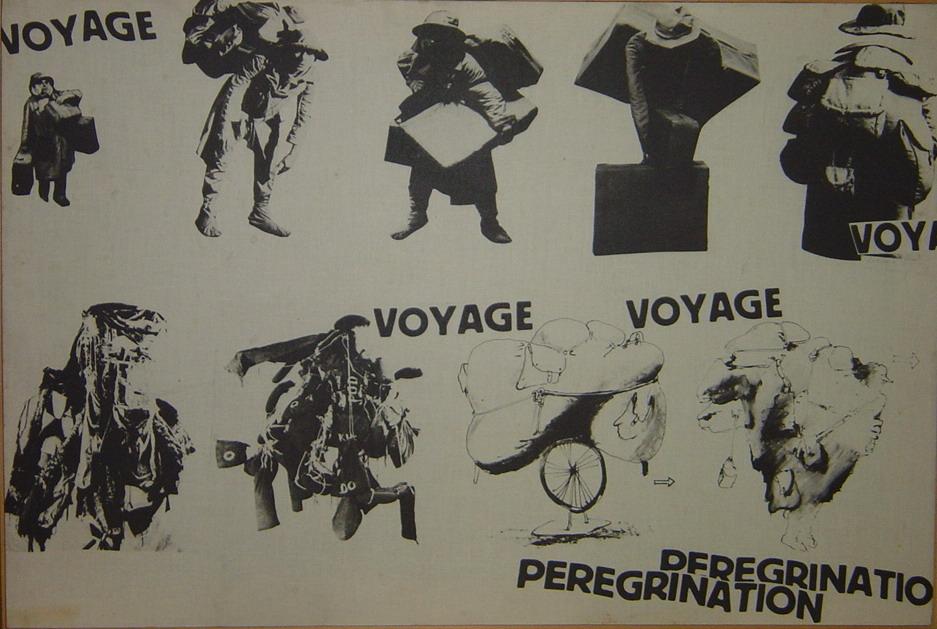 """Grafika: kolaż rysunków i zdjęć postaci podróżników ze spektakli Kantora z napisami """"Voyage"""" i """"Peregrination"""""""