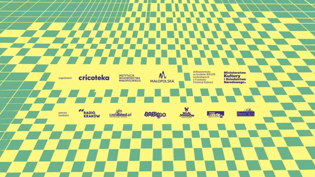 Grafika promująca projekt Laboratorium sceny. Warsztaty rodzinne i spotkania dla seniorów - logotypy partnerów i organizatorów
