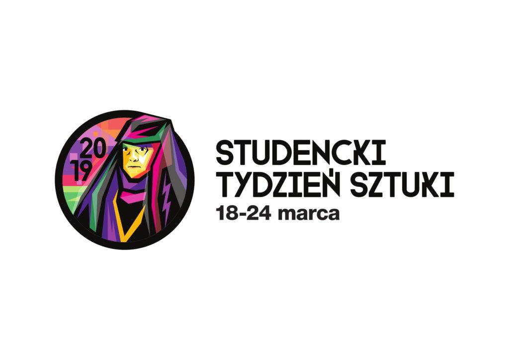 Logotyp Studenckiego Tygodnia Sztuki z napisem oraz kolorową grafiką z podobizną Anny Jagiellonki z lewej strony napisu.