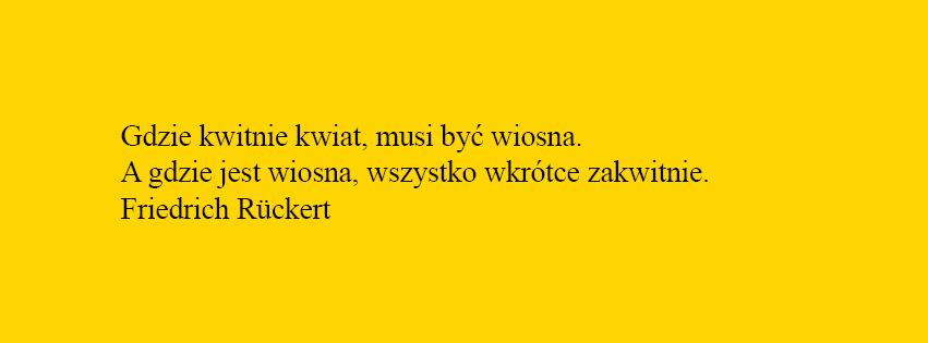 Żółty baner z cytatem: Gdzie kwitnie kwiat musi być wiosna. A gdzie jest wiosna wszystko wkrótce zakwitnie. F. Ruckert