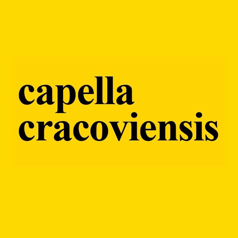 Żółty baner z napisem capella cracoviensis