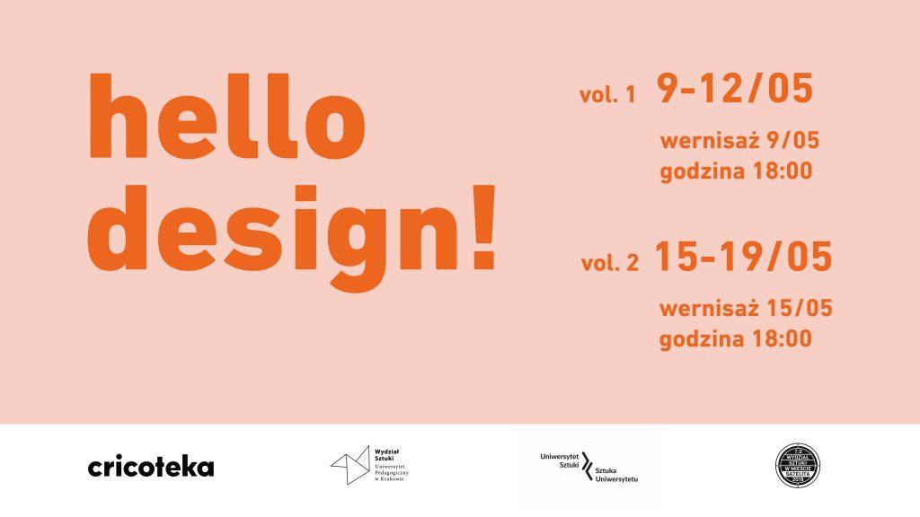 Różowa grafika z tytułem wystawy Hello Design!