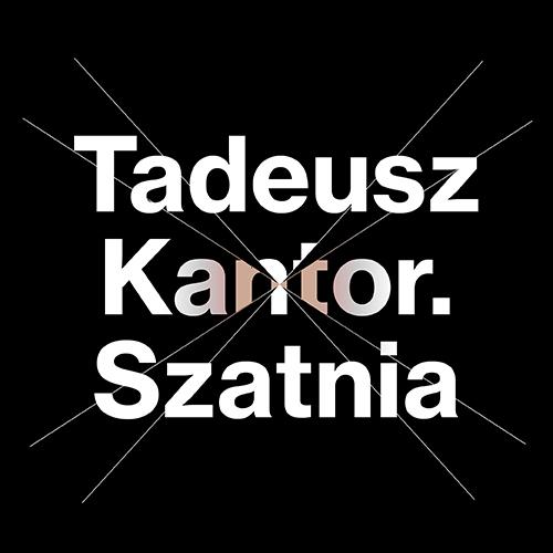 Biały napis na czarnym tle: Tadeusz Kantor. Szatnia