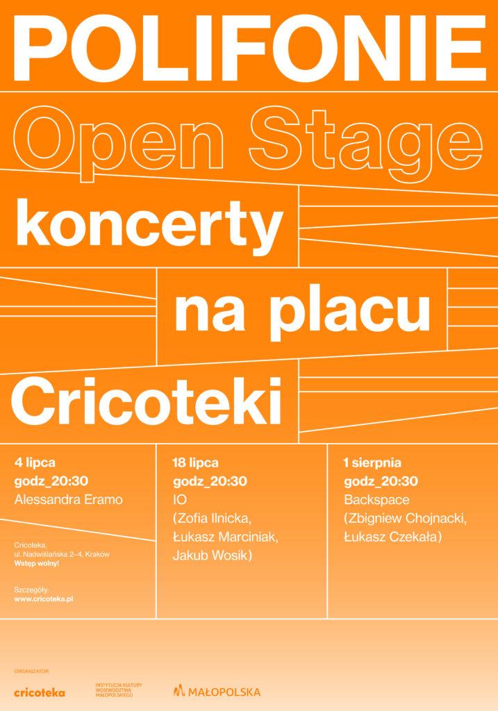 Pomarańczowa grafika z napisem: Poligonie Open Stage. koncerty na placu Cricoteki