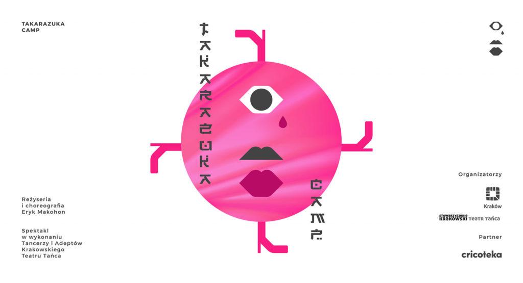 Grafika: białe tło, różowa kropka z okiem i ustami oraz napis Takarazuka camp
