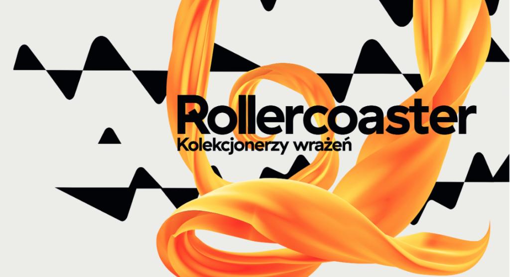 Biało-czarna grafika z pomarańczową wstążką i napisem Rollercoaster. Kolekcjonerzy wrażeń.