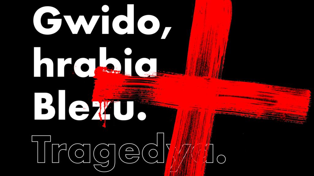 """[Grafika do spektaklu """"Gwido, hrabia Blezu. Na czarnym tle białe napisy, które przecina czerwony krzyż.]"""