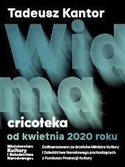 """[Na zdjęciu grafika do wystawy. Czarno tło z niebieskim tytułem wystawy """"Widma"""". Na dole grafiki widać datę wystawy """"od kwietnia 2020 roku'.]"""