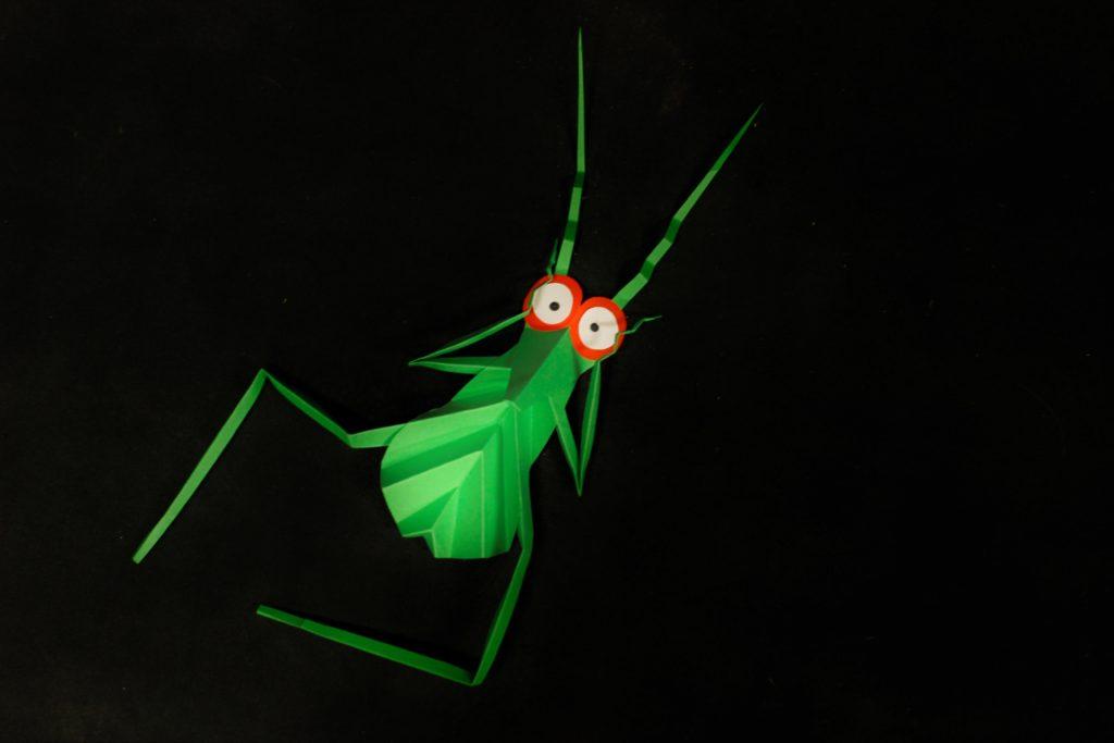 [Na zdjęciu zielony papierowy pasikonik.]