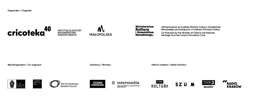 Baner z logotypami organizatorów, partnerów i patronów medialnych wystawy Tadeusz Kantor. Widma