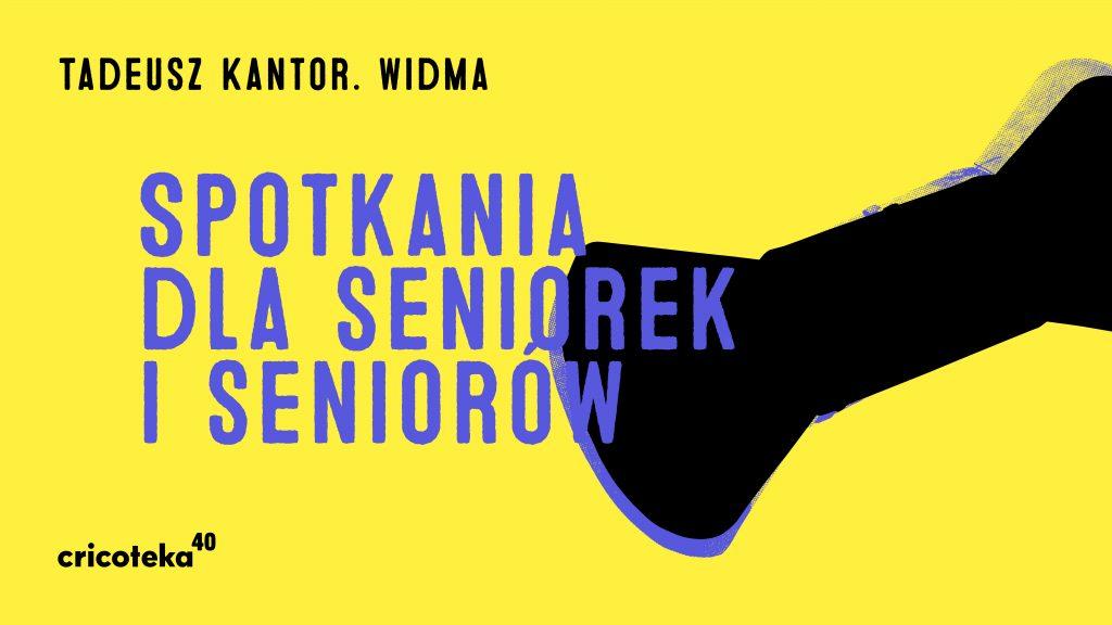 """[Kolorowa grafika promująca wystawę. Żółto tło, a na nim duży napis w kolorze granatowym """"Spotkania dla seniorek i seniorów"""".]"""