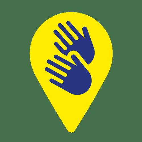 AD: Ikona symbolizująca informacje dostępne w polskim języku migowym (PJM). Dwie niebieskie ręce na żółtym tle.