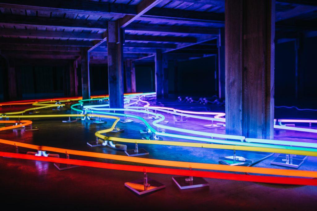 [AD: na zdjęciu kolorowe neony pokrywające podłogę pomieszczenia.]