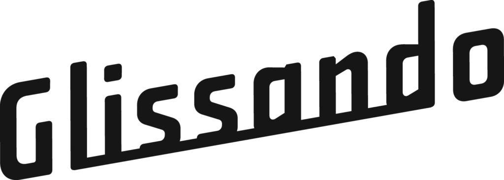 "Logotyp partnera medialnego. Czarny napis ""Glissando"""