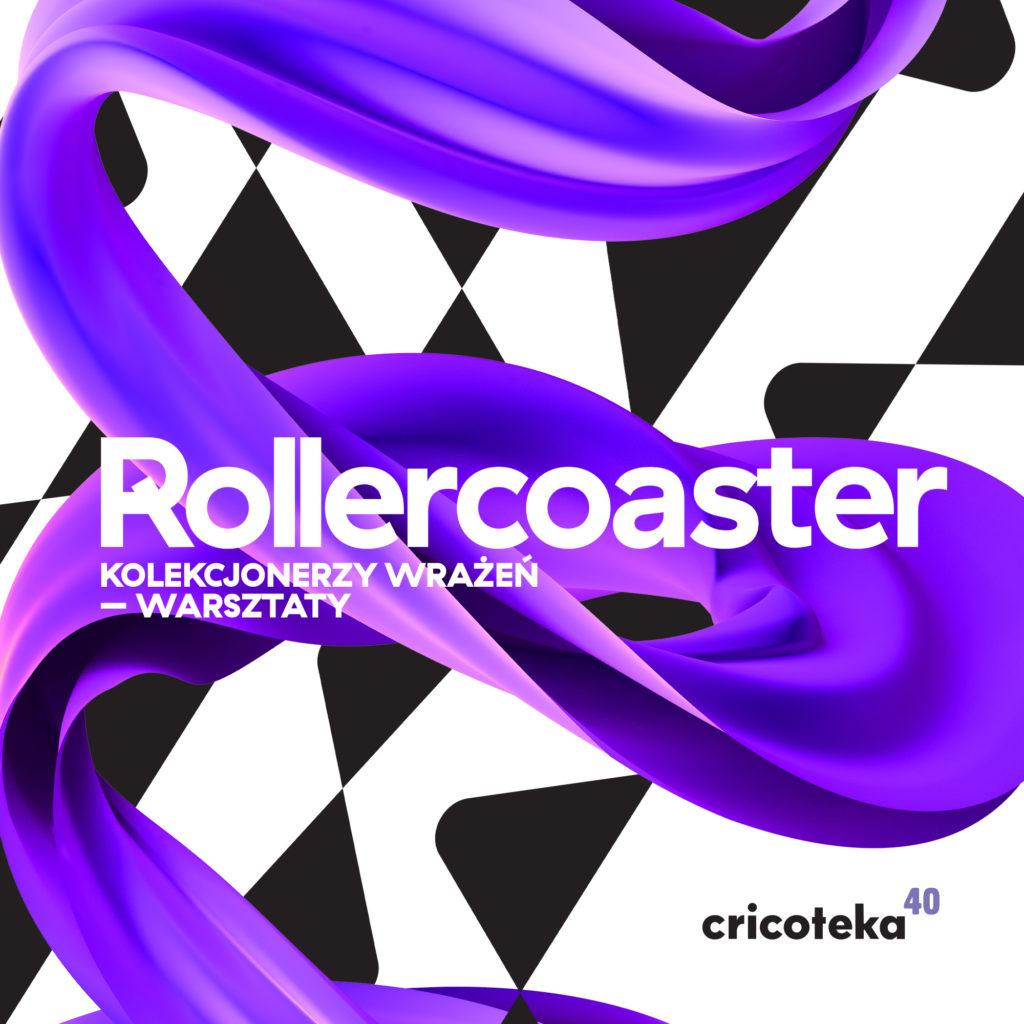 """Grafika do wydarzenia """"Rollercoaster. Kolekcjonerzy wrażeń"""". Fioletowa wstążka na czarno-białym tle."""