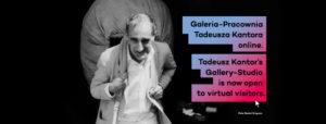 [Baner ze zdjęciem Kantora i napisem Galeria-Pracownia Tadeusza Kantora Online.]