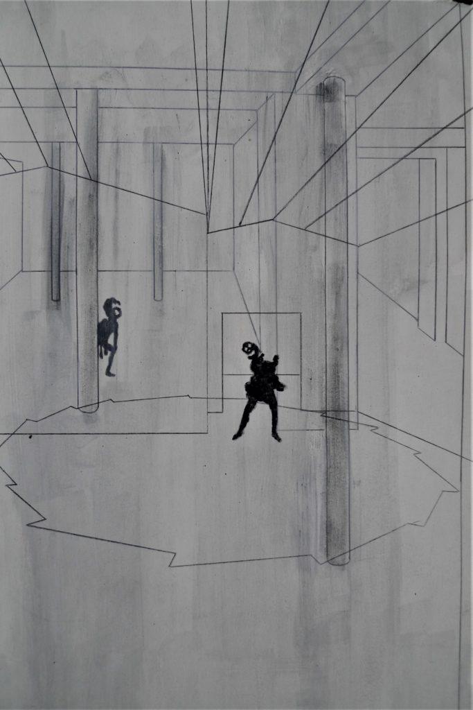 """[Zdjęcie rysunku z przestrzeni """"Cargo"""" Marka Chlandy]"""