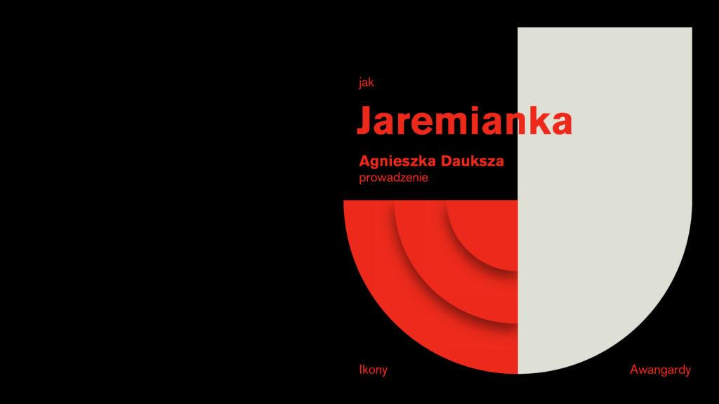 grafika z czerwono białą literą J jak Jaremianka. Prowadzenie Ikony Awangardy.