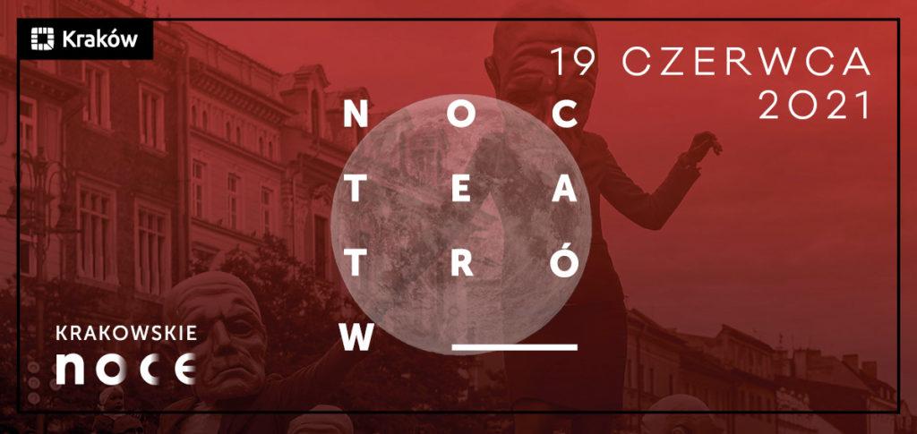 Czerwona grafika z napisem Noc Teatrów umiejscowionym na tle księzyca