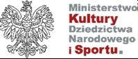 logo Ministerstwa Kultury Dziedzictwa Narodowego i Sportu. Po lewej stronie orzeł.
