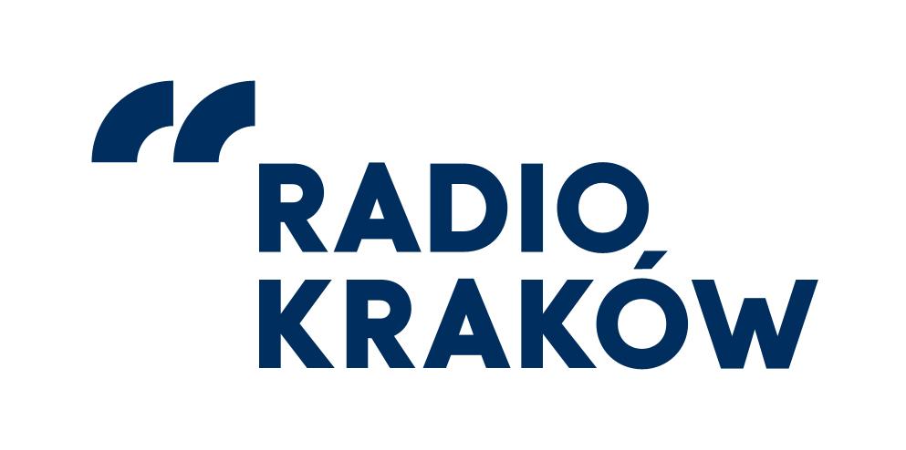 Logotyp Radio Kraków. Granatowy napis: Radio Kraków