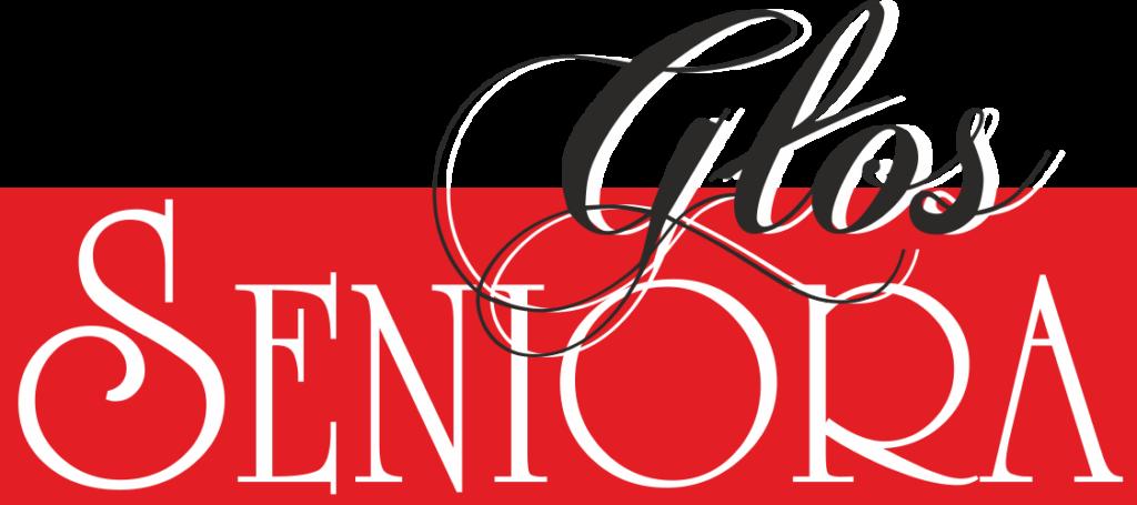 Logotyp Głosu Seniora. Na czerwony tle napis: Głos seniora.