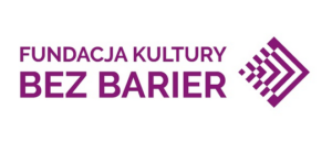 Logotyp Fundacji Kultury bez barier. Na białym tle fioletowe litery: Fundacja Kultury bez barier